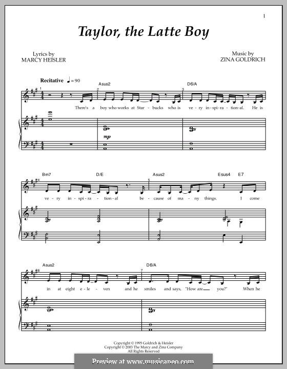 Taylor, the Latte Boy: Para vocais e piano by Zina Goldrich