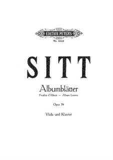 Six Album Leaves for Viola and Piano, op.39: Six Album Leaves for Viola and Piano by Hans Sitt