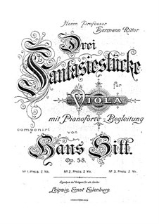Three Fantastic Pieces for Viola and Piano, Op.58: set completo by Hans Sitt