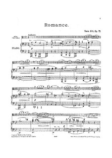 Romance for Viola and Piano, Op.72: Parte de solo, Score for two performers by Hans Sitt