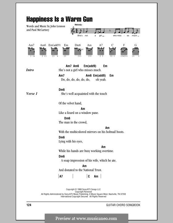 Happiness is a Warm Gun (The Beatles): Letras e Acordes (com caixa de acordes) by John Lennon, Paul McCartney