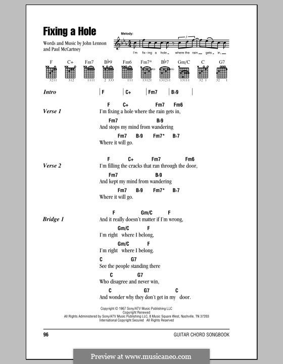 Fixing a Hole (The Beatles): Letras e Acordes (com caixa de acordes) by John Lennon, Paul McCartney
