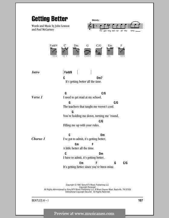 Getting Better (The Beatles): Letras e Acordes (com caixa de acordes) by John Lennon, Paul McCartney