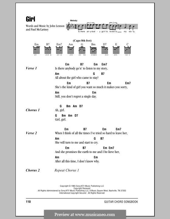 Girl (The Beatles): Letras e Acordes (com caixa de acordes) by John Lennon, Paul McCartney