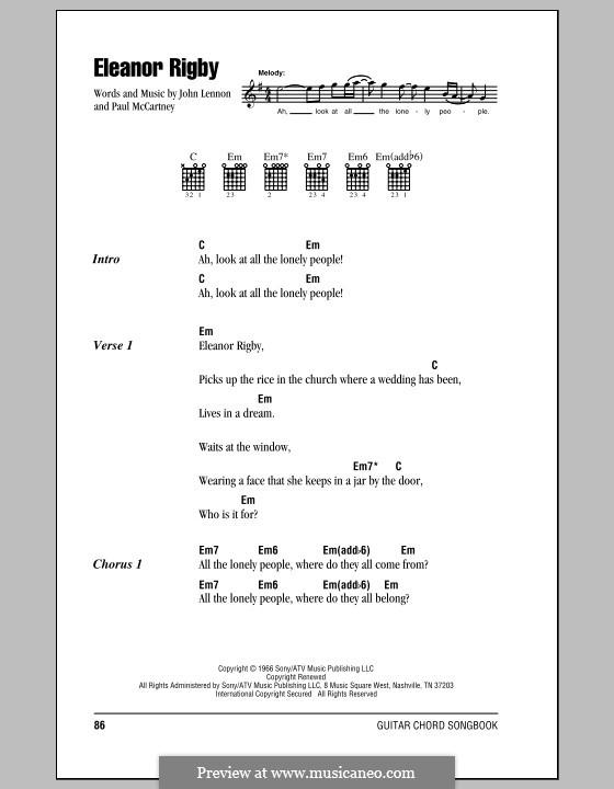Eleanor Rigby (The Beatles): Letras e Acordes (com caixa de acordes) by John Lennon, Paul McCartney