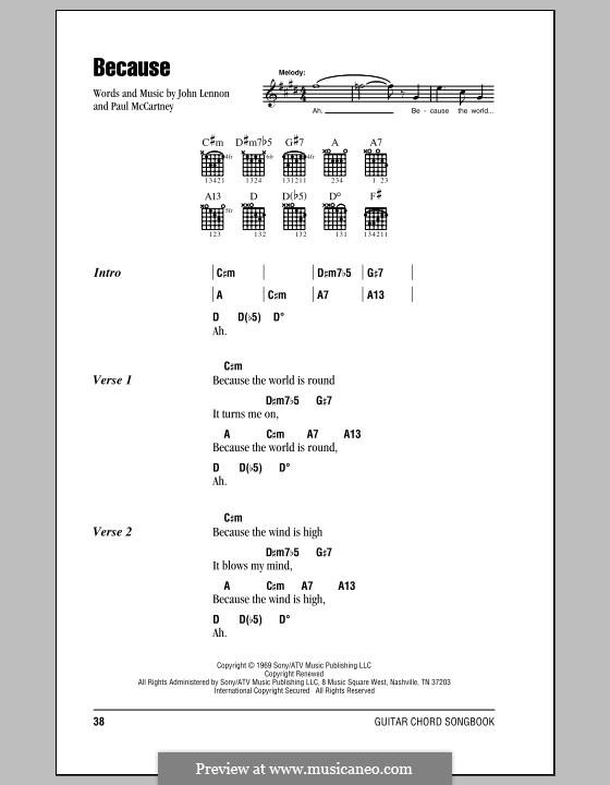 Because (The Beatles): Letras e Acordes (com caixa de acordes) by John Lennon, Paul McCartney