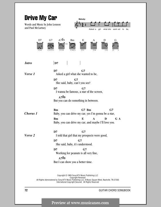 Drive My Car (The Beatles): Letras e Acordes (com caixa de acordes) by John Lennon, Paul McCartney