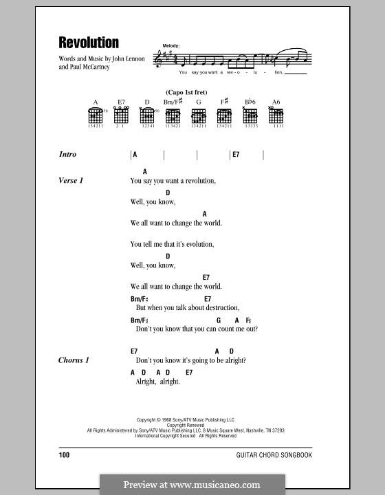 Revolution (The Beatles): Letras e Acordes (com caixa de acordes) by John Lennon, Paul McCartney