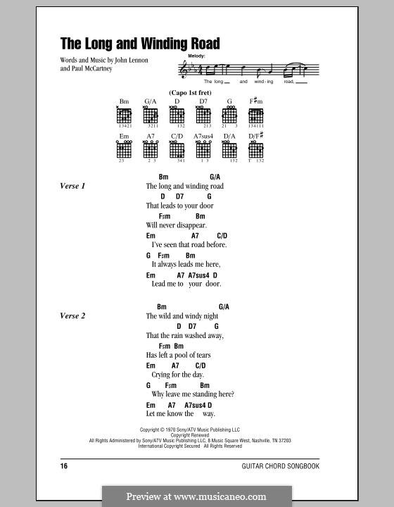 The Long and Winding Road (The Beatles): Letras e Acordes (com caixa de acordes) by John Lennon, Paul McCartney