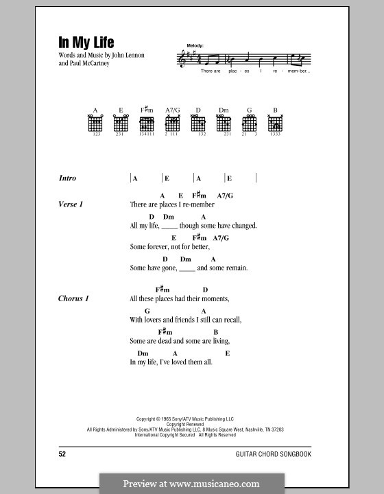 In My Life (The Beatles): Letras e Acordes (com caixa de acordes) by John Lennon, Paul McCartney