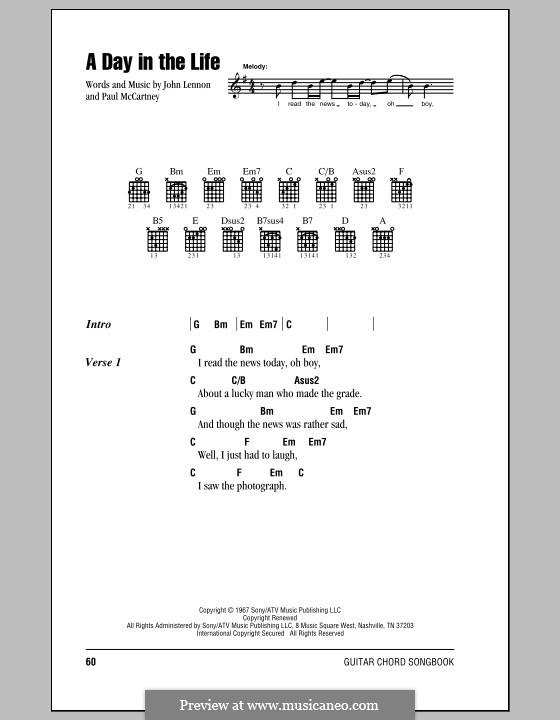 A Day in the Life (The Beatles): Letras e Acordes (com caixa de acordes) by John Lennon, Paul McCartney