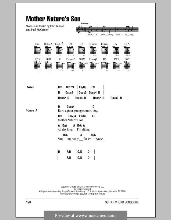 Mother Nature's Son (The Beatles): Letras e Acordes by John Lennon, Paul McCartney