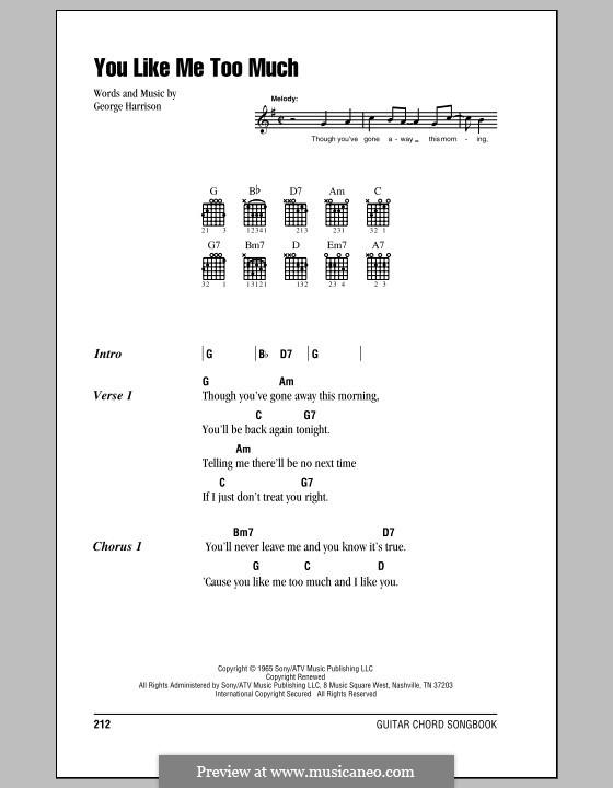 You Like Me Too Much (The Beatles): Letras e Acordes (com caixa de acordes) by George Harrison