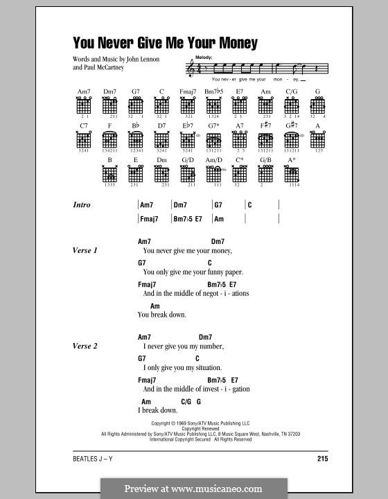You Never Give Me Your Money (The Beatles): Letras e Acordes (com caixa de acordes) by John Lennon, Paul McCartney