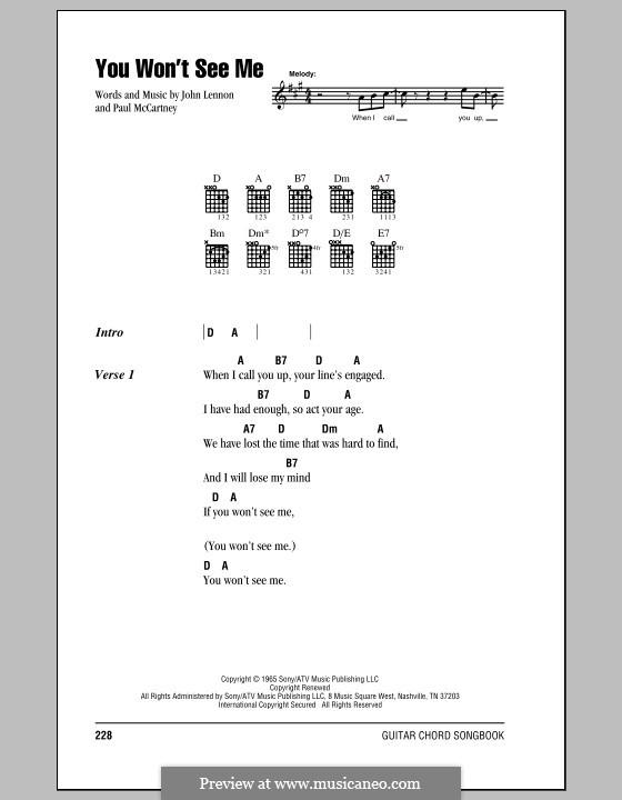You Won't See Me (The Beatles): Letras e Acordes (com caixa de acordes) by John Lennon, Paul McCartney