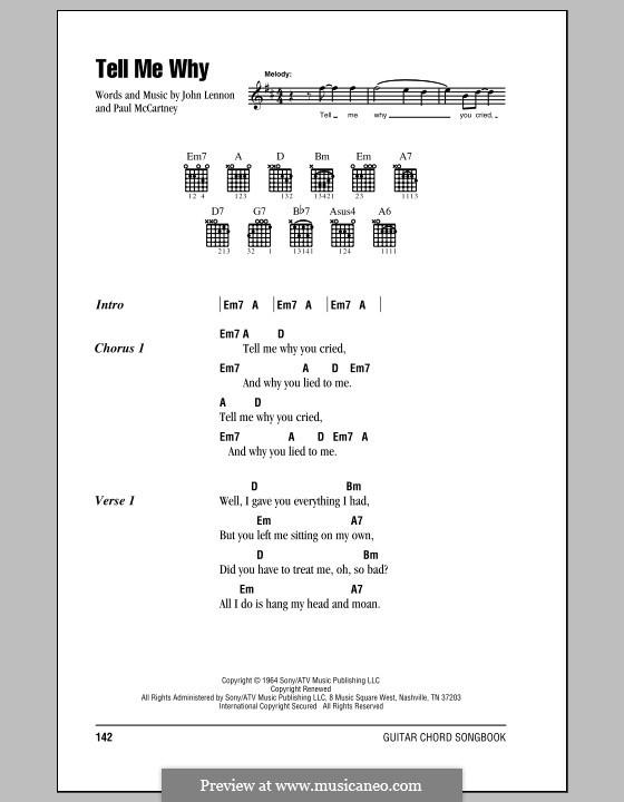 Tell Me Why (The Beatles): Letras e Acordes (com caixa de acordes) by John Lennon, Paul McCartney