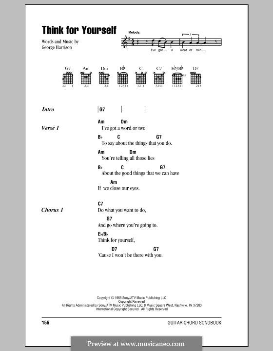 Think for Yourself (The Beatles): Letras e Acordes (com caixa de acordes) by George Harrison