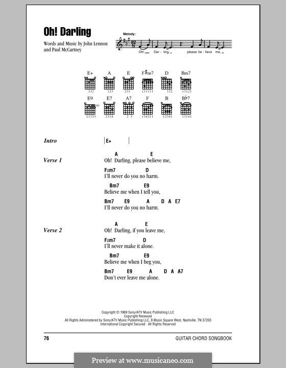 Oh! Darling (The Beatles): Letras e Acordes (com caixa de acordes) by John Lennon, Paul McCartney