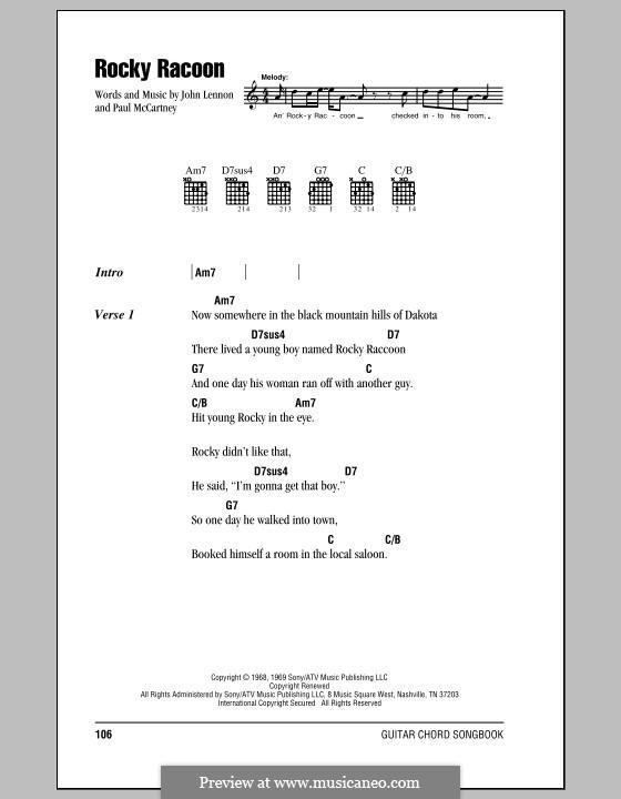 Rocky Raccoon (The Beatles): Letras e Acordes (com caixa de acordes) by John Lennon, Paul McCartney