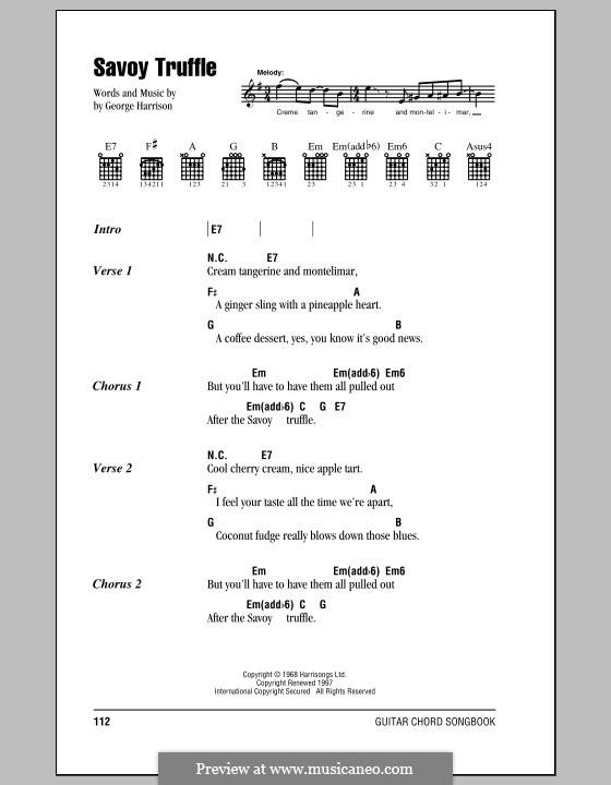 Savoy Truffle (The Beatles): Letras e Acordes (com caixa de acordes) by George Harrison