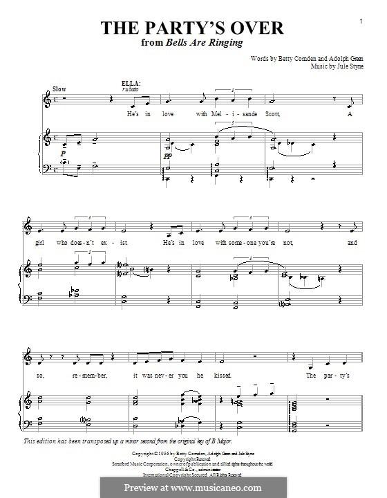 The Party's Over: Para vocais e piano by Jule Styne