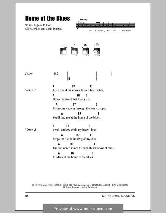 Home of the Blues: Letras e Acordes (com caixa de acordes) by Glenn Douglas, Johnny Cash, Lillie McAlpin