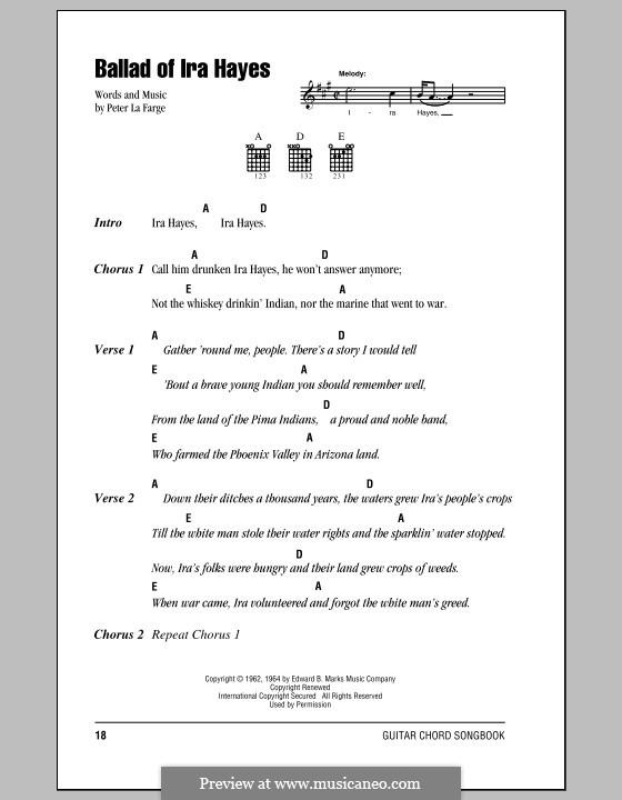 Ballad of Ira Hayes: Letras e Acordes (com caixa de acordes) by Peter La Farge