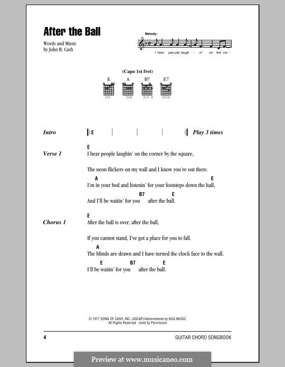 After the Ball: Letras e Acordes (com caixa de acordes) by Johnny Cash