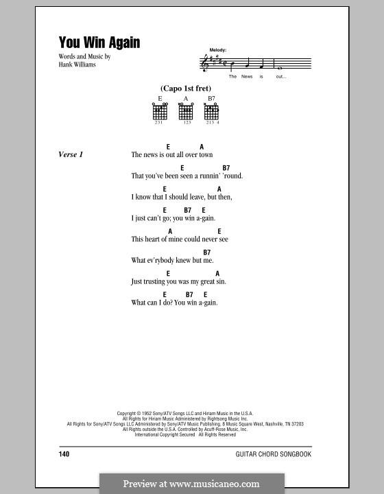 You Win Again: Letras e Acordes (com caixa de acordes) by Hank Williams