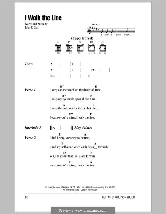 I Walk the Line: Letras e Acordes (com caixa de acordes) by Johnny Cash