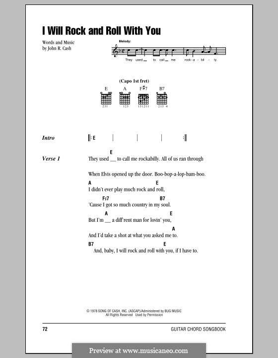 I Will Rock and Roll with You: Letras e Acordes (com caixa de acordes) by Johnny Cash