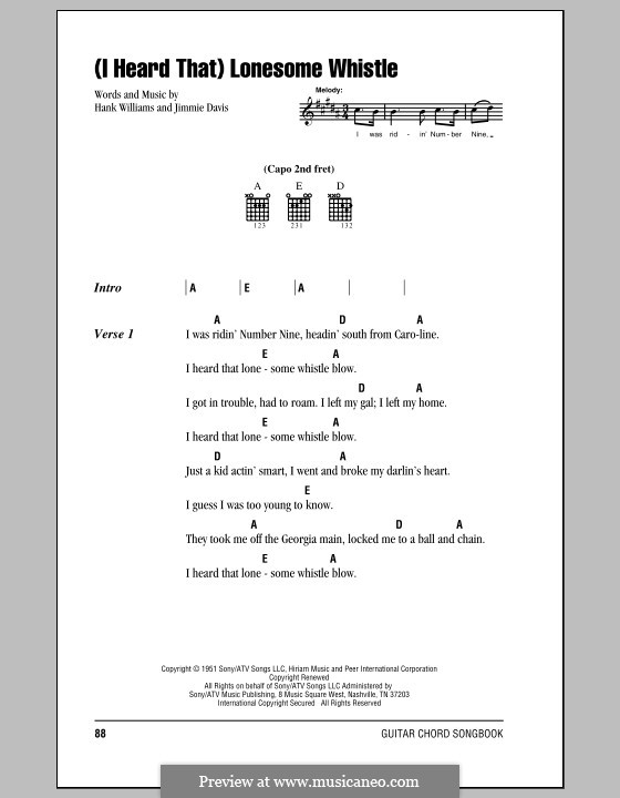 (I Heard That) Lonesome Whistle: Letras e Acordes (com caixa de acordes) by Hank Williams, Jimmie Davis