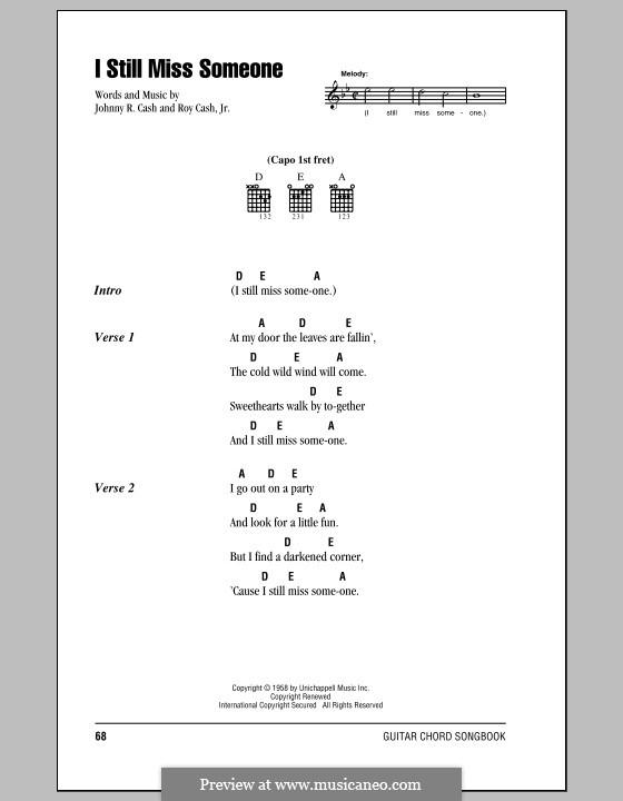 I Still Miss Someone: Letras e Acordes (com caixa de acordes) by Johnny Cash, Roy Cash Jr.