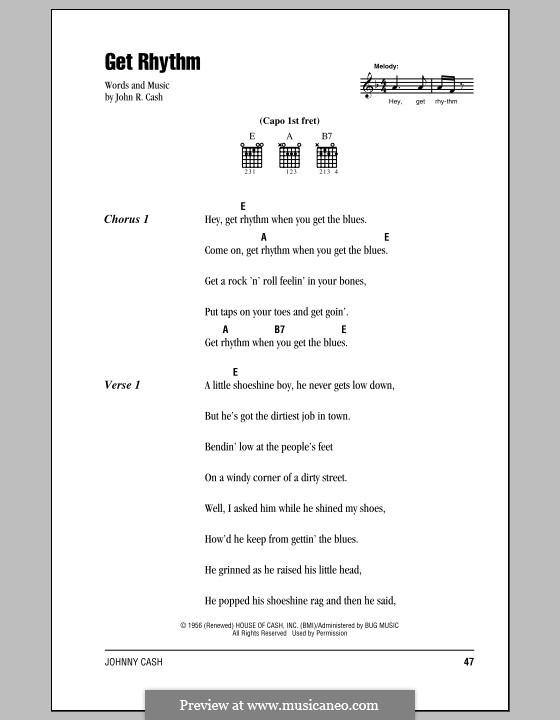 Get Rhythm: Letras e Acordes (com caixa de acordes) by Johnny Cash