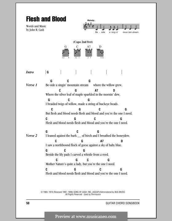 Flesh and Blood: Letras e Acordes (com caixa de acordes) by Johnny Cash