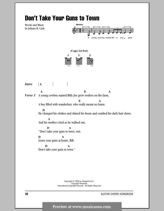 Don't Take Your Guns To Town: Letras e Acordes (com caixa de acordes) by Johnny Cash