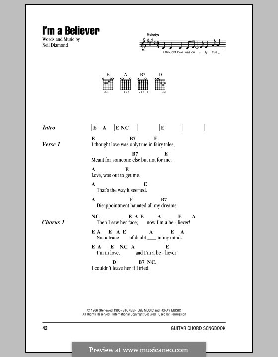 I'm a Believer: Letras e Acordes by Neil Diamond