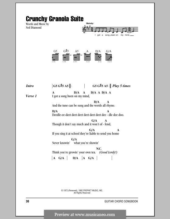 Crunchy Granola Suite: Letras e Acordes (com caixa de acordes) by Neil Diamond