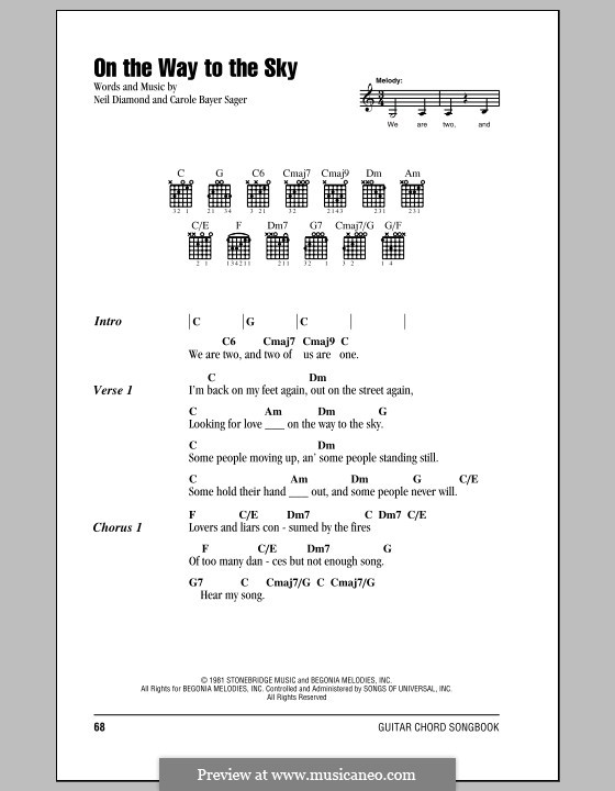 On the Way to the Sky: Letras e Acordes (com caixa de acordes) by Carole Bayer Sager
