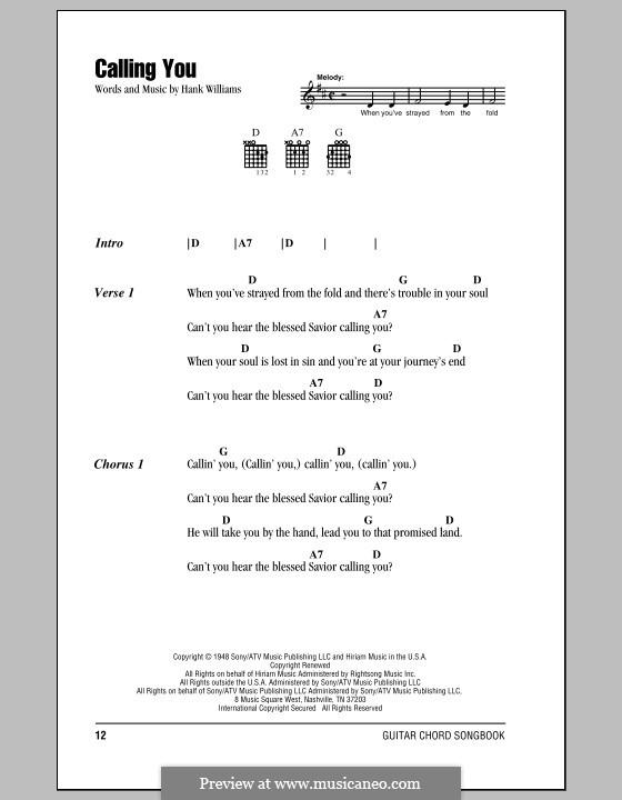 Calling You: Letras e Acordes (com caixa de acordes) by Hank Williams