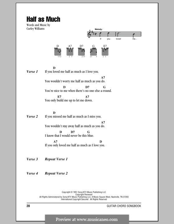 Half as Much (Patsy Cline): Letras e Acordes (com caixa de acordes) by Curley Williams