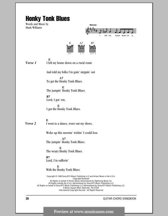 Honky Tonk Blues: Letras e Acordes (com caixa de acordes) by Hank Williams