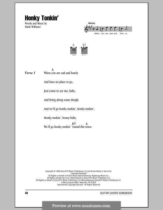 Honky Tonkin': Letras e Acordes (com caixa de acordes) by Hank Williams