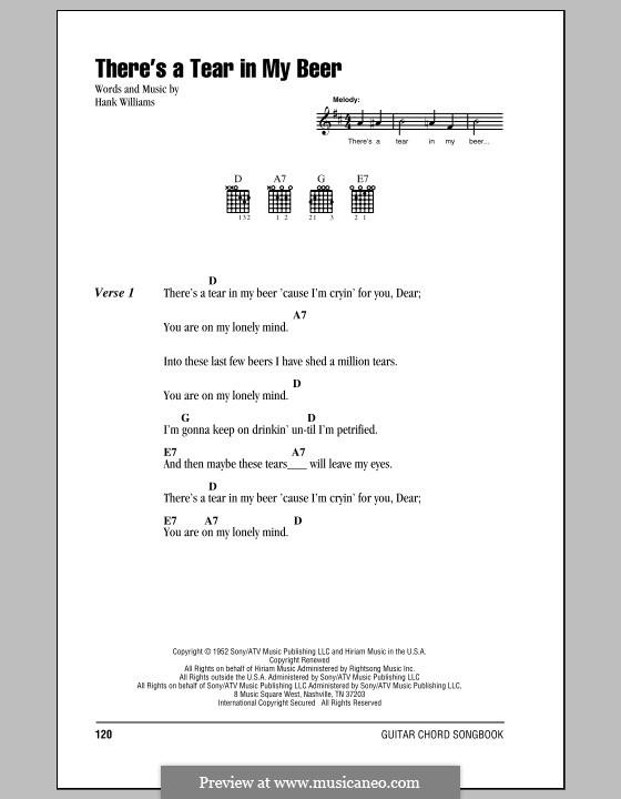 There's a Tear in My Beer: Letras e Acordes (com caixa de acordes) by Hank Williams