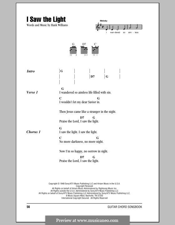 I Saw the Light: Letras e Acordes (com caixa de acordes) by Hank Williams