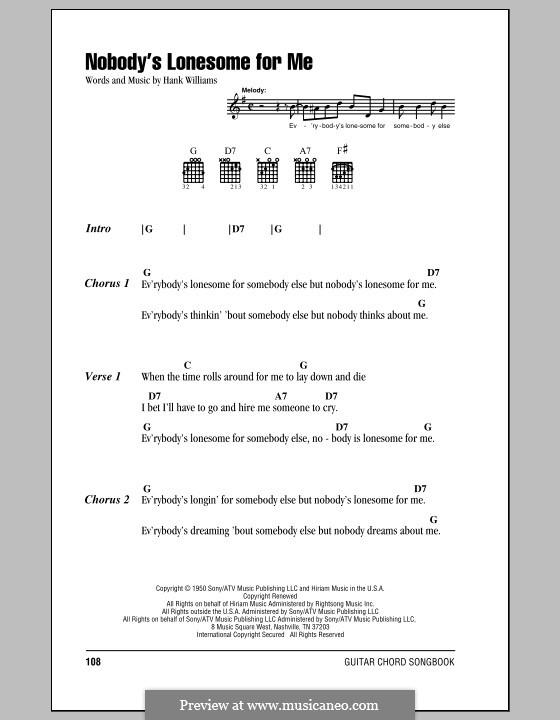 Nobody's Lonesome for Me: Letras e Acordes (com caixa de acordes) by Hank Williams