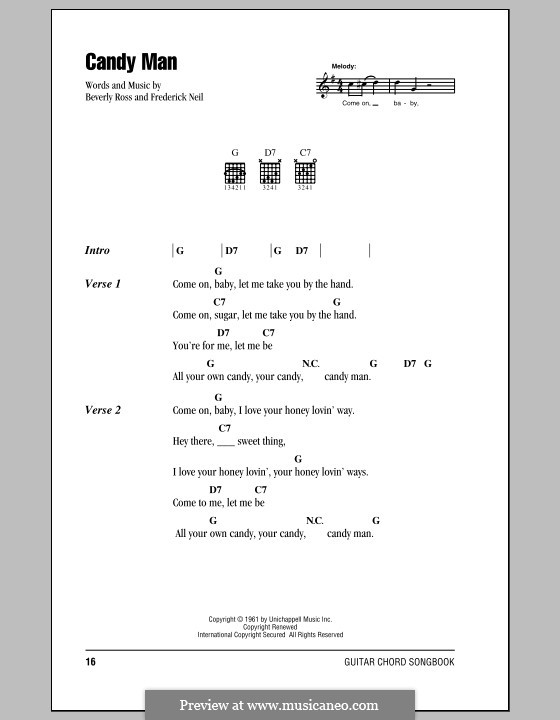 Candy Man (Roy Orbison): Letras e Acordes (com caixa de acordes) by Beverly Ross, Fred Neil