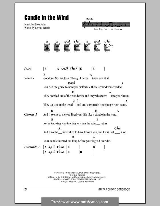 Candle in the Wind: Letras e Acordes (com caixa de acordes) by Elton John