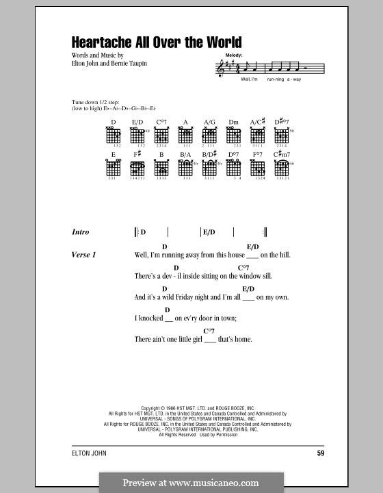 Heartache All Over the World: Letras e Acordes (com caixa de acordes) by Elton John