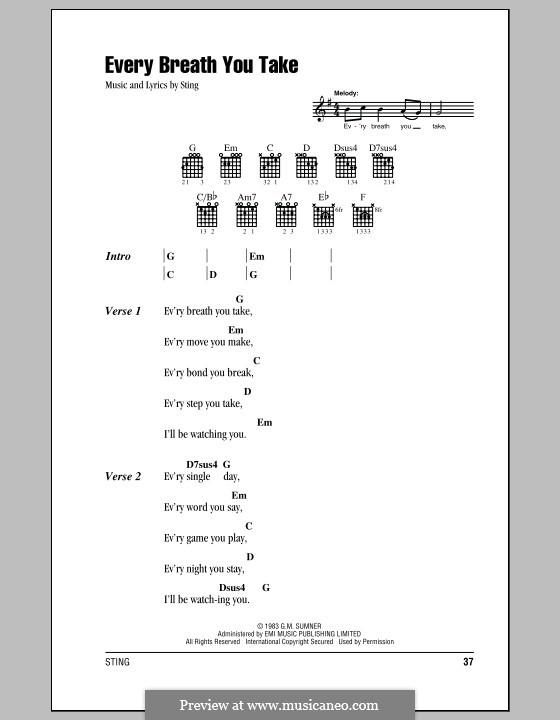 Every Breath You Take (The Police): Letras e Acordes (com caixa de acordes) by Sting